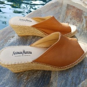 Leather Wedge Espadrilles Sandals by Neiman Marcus